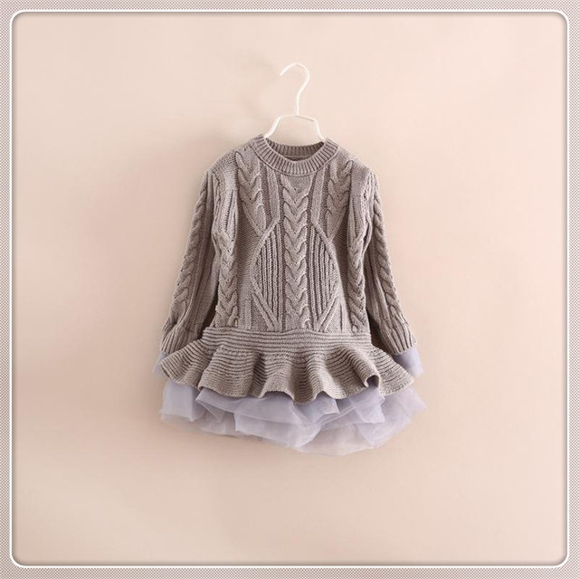 5d051e650335 Spring Kids Girls Long Knit Sweater Baby Girl Tulle Lace Winter ...