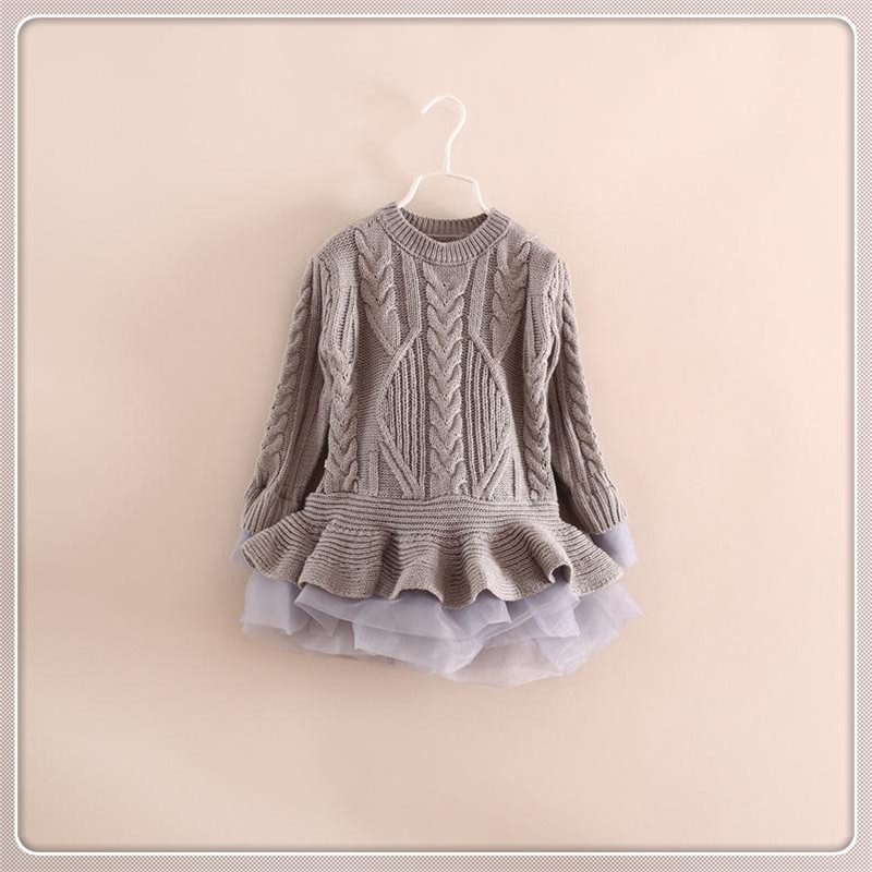 Spring Kids Girls Long Knit Sweater Baby Girl Tulle Lace Winter Princess Jumper Pullover Tops Free Shipping