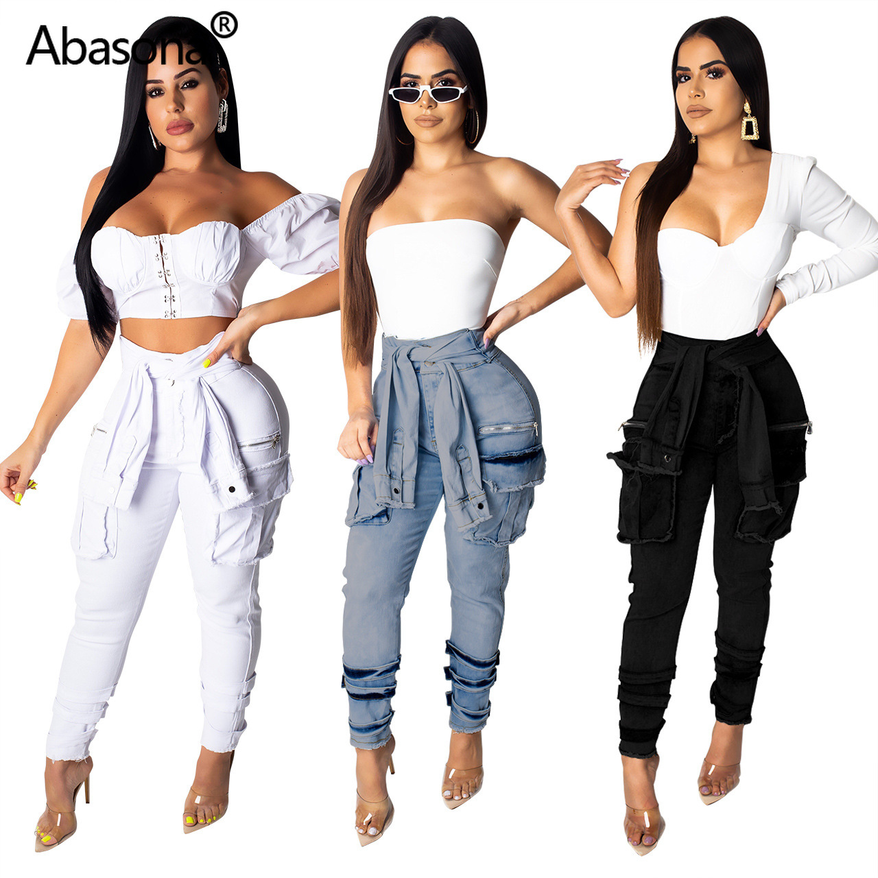 2019 Women Summer Tie Up High Waist Side Pocket Pencil Long   Jeans   Vintage Fashion Denim Sexy Club Pants Safari Trousers S-2XL