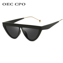 OEC CPO Ladies Cat Eye Sunglasses Women Brand 2019 Vintage Black Red Pink Sun Glasses For Men Luxury Gradient Shades  O38