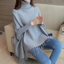 Kasmir Sweater Wanita Jubah Panjang Lengan Flmale Longgar Pakaian Kasual Batwing Lengan Nyaman Pullovers LJ0730