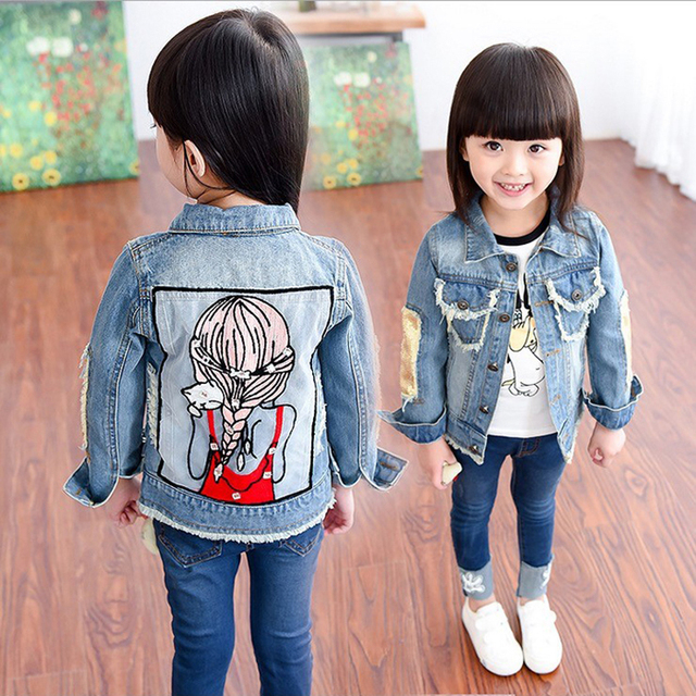 f181719c1 New 2017 Children Outwear Coat Sequins Little Girl Design 1-12Yrs Baby Girls  Hole Denim