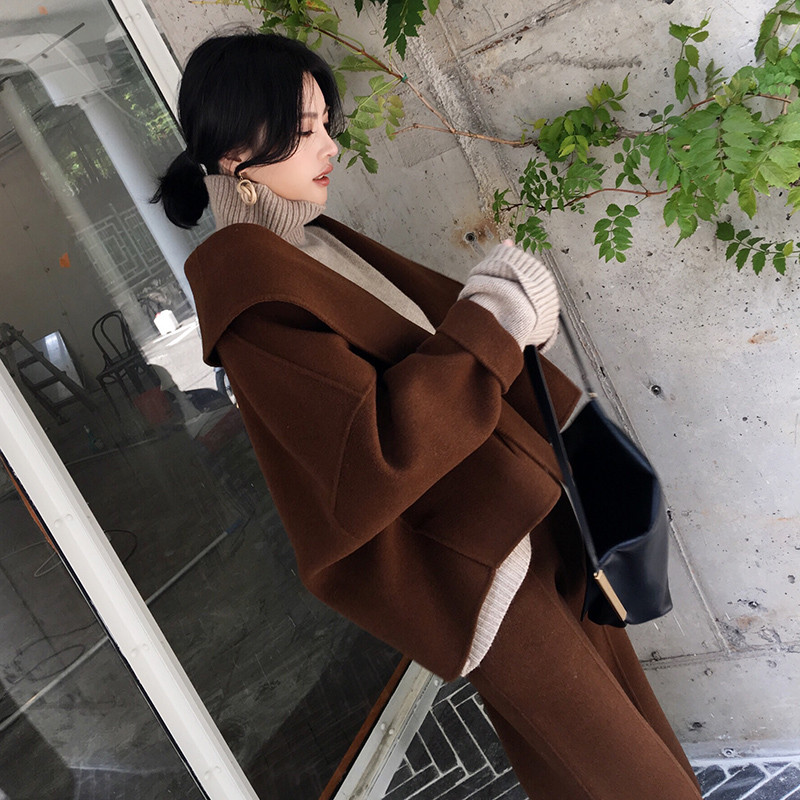 Set Female 2019 New Style Autumn And Winter Large Size Women's Fashion Temperament Suit Loose Thin Woolen Two-piece Suit