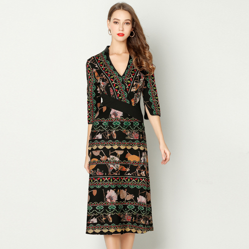 2018 Spring New Brand Vintage V Neck Elegant Rome Print Long Women Dress Female Plus Size Designer Cloth Fashion Work Vestidos