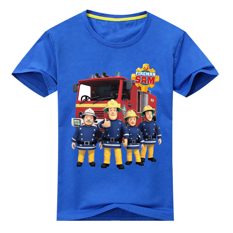 Boy New Cartoon Fireman Sam Pattern T-shirt Clothes Girls Summer Tee Tops Clothing Children T Shirt Costume For Kids Shirt DX026 freeshipping summer children boy baby kids black blue white cartoon pattern short sleeve sports cotton shirt t shirt pexz01p59