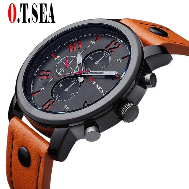 Hot Sales O.T.SEA Brand Pu Leather Watches Men Military Sports Quartz Wristwatch