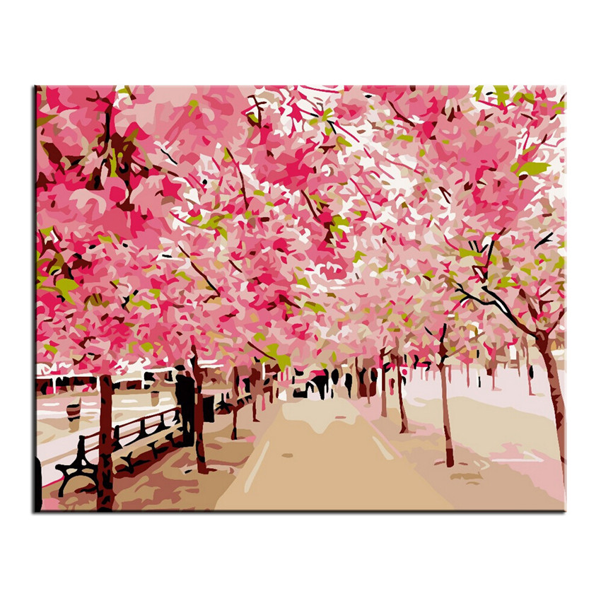 Diy flower painting by numbers on canvas diy hand painted for Diy flower canvas wall art