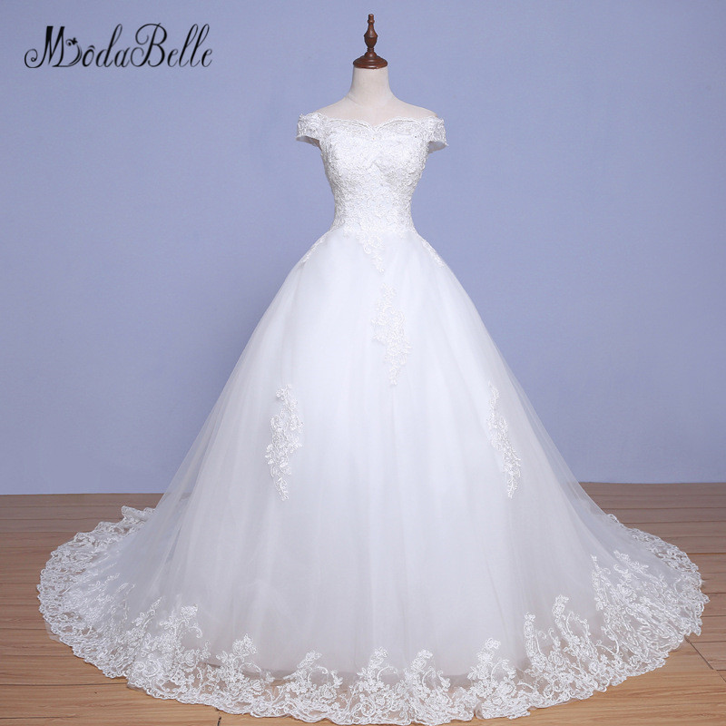 Us 1470 Modabelle Beautiful Long Strapless Wedding Dresses 2018 Vestido Novia Color White Applique Lace Wedding Ball Gown For Bride In Wedding