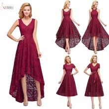 2019 Sexy Burgundy Lace Short Evening Dress V Neck Sleeveless Evening Gown robe de soiree Stock 5 Styles burgundy lace details v neck sleeveless mini dress