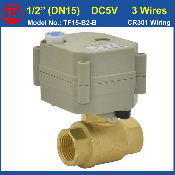 ФОТО TF15-B2-B DC5V 3 Wires BSP/NPT Brass 1/2'' (DN15) Motorized Valve With Manual Override And Indicator For HVAC Water Treatment