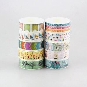 Image 5 - Nuovo 50pcs Kawaii Colorful 596 Modelli Giapponese Washi Tape nastro di Carta, FAI DA TE Nastro Adesivo per Scrapbooking, 15mm * 10 m, Carino Cancelleria