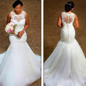 Image 1 - Fansmile 2020 New Arrival Africa Design Full Beading Handwork Beads Ruffle Tiered Mermaid Wedding Dress Backless Gowns FSM 507M