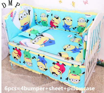 Promotion! 6pcs Minions Baby Cot Crib Bedding set for girl and boys ,include (bumpers+sheet+pillow cover) promotion 6pcs minions baby cot crib bedding set for girl and boys include bumpers sheet pillow cover