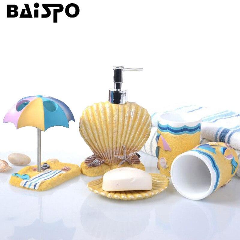 Fondo del mare Conchiglie Squisito 5 PZ Resina Accessori Da Bagno Set Dispenser di Sapone/Portaspazzolino/Bicchiere/Portasapone