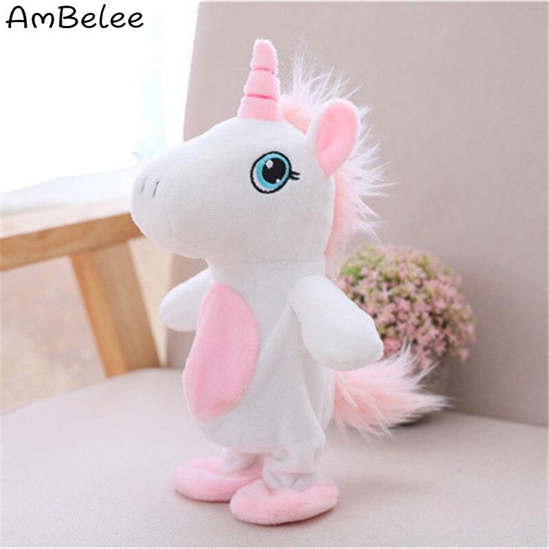 Ambelee говорить единорог плюшевые игрушки Симпатичные Speak ходить электрический мягкие ...