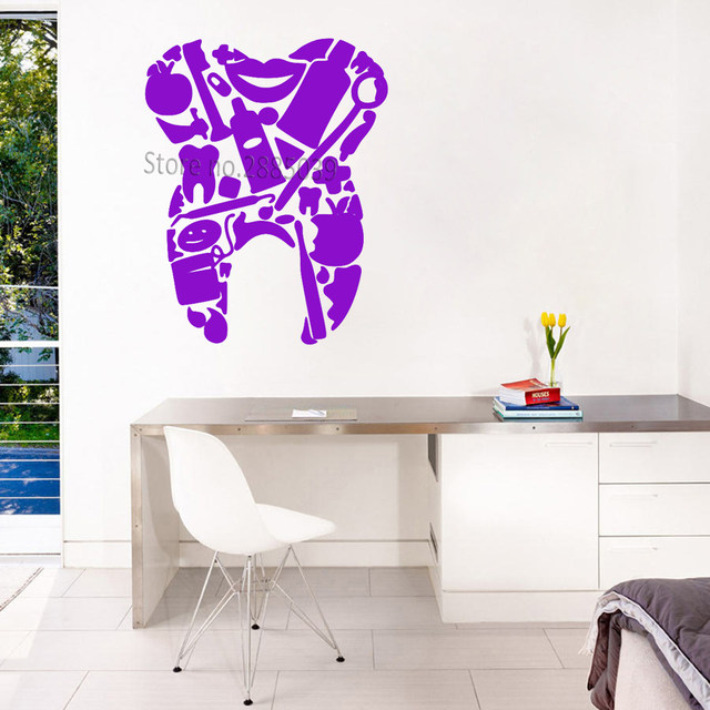 Dental Tools Tooth Shape Vinyl Decals Dentist Office Wall Decor Murals Art  Teeth Wall Stickers Removable Adesivo De Parede LC867