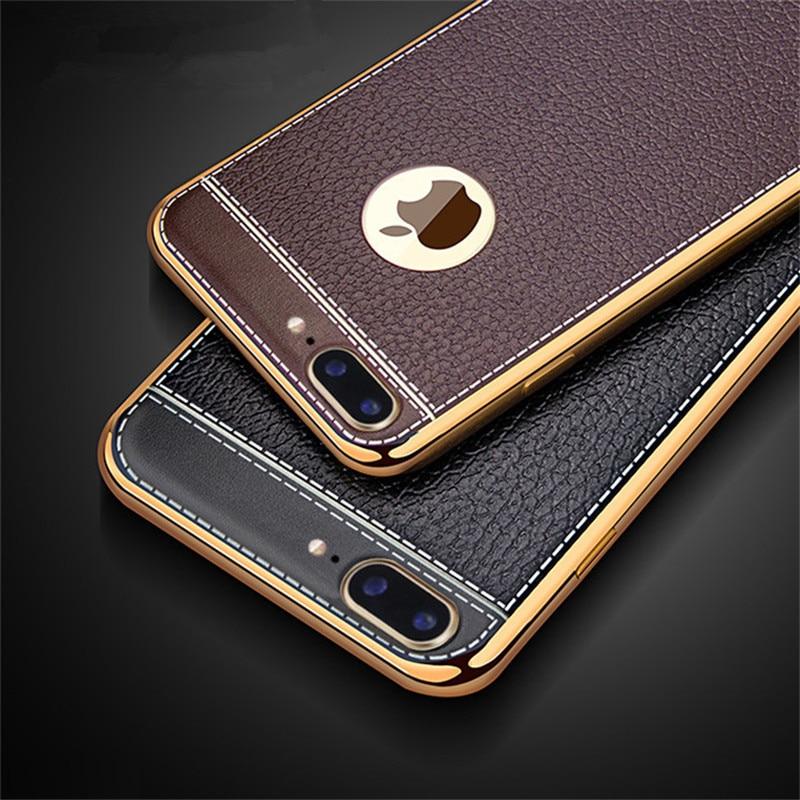 För Apple iPhone 7 Fodral Litchi Grain Luxury Plating Phone Fodral - Reservdelar och tillbehör för mobiltelefoner