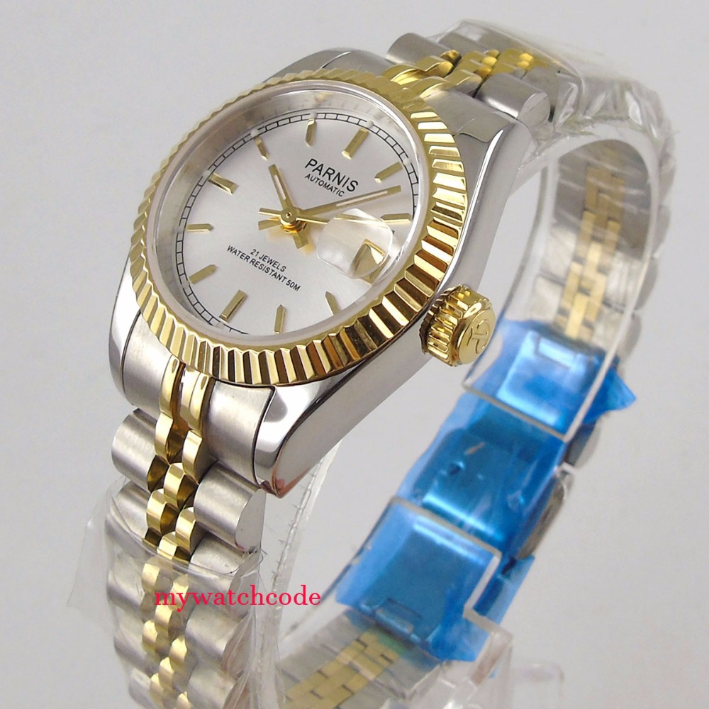 Luxurious 26mm parnis silver dial date 21 jewels miyota automatic womens watch