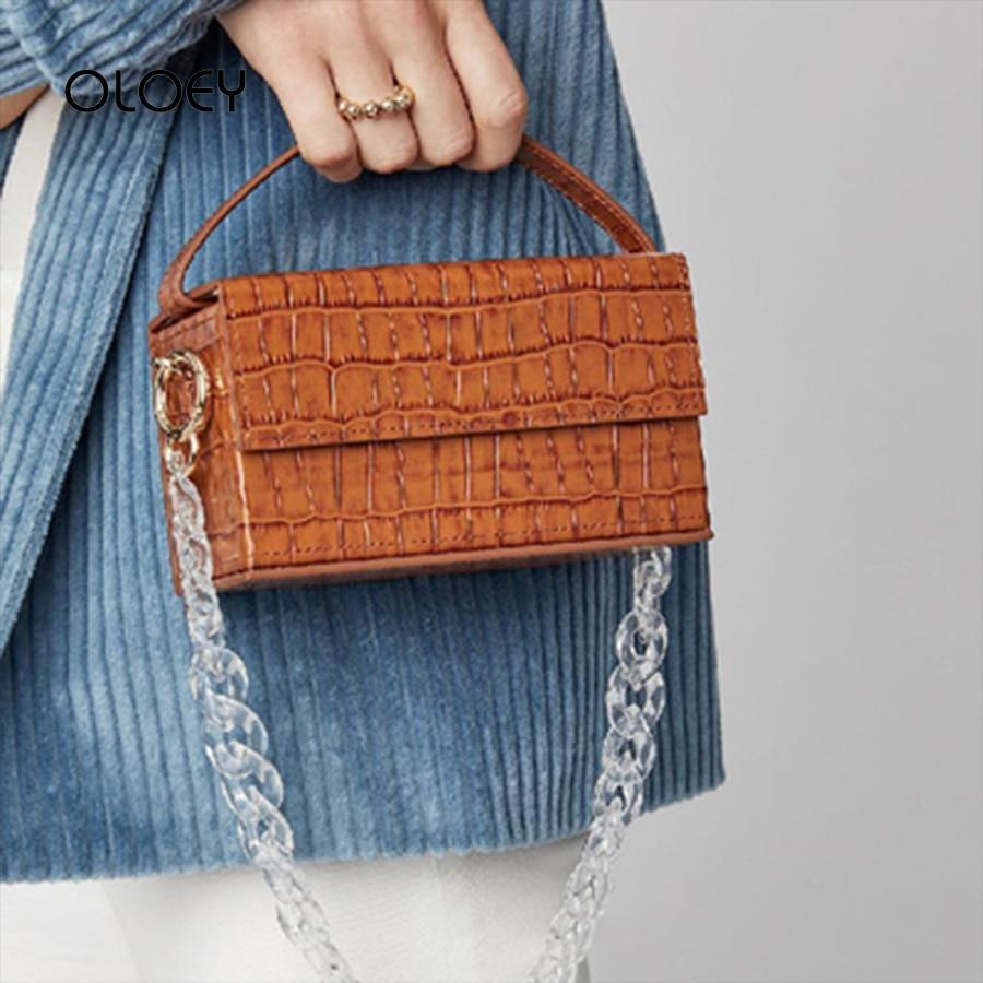 Vintage Acrylic Crocodile Print Box Bags For 2019 Luxury Handbags Women Bags Designer Ladies Shoulder Messenger Bags Sac A Main