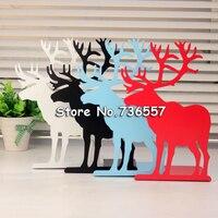 2 Stks/paar Koreaanse Fashion Leuke Metalen Boekensteunen Ijzer  wit/Roze Paard Elanden Decoratieve Boek Ondersteuning Houder Bureau Staat Voor Boeken