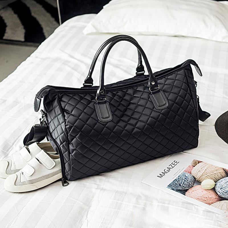 Mens Fashion Plaid Travel Bag Versatile Women  Duffle Weekend Bag Nylon Shoulder Bags Big Handbag Carry On Fitness Black XA763WB
