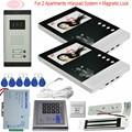 4 3 ''видео телефон двери 2 монитора с электронным магнитным замком проводной интерком для частного дома источник питания с контролем доступа...