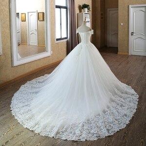 Image 2 - Белое Бальное платье невесты, винтажное свадебное платье мусульманского размера плюс с кружевом и рукавом для принцессы, 2020