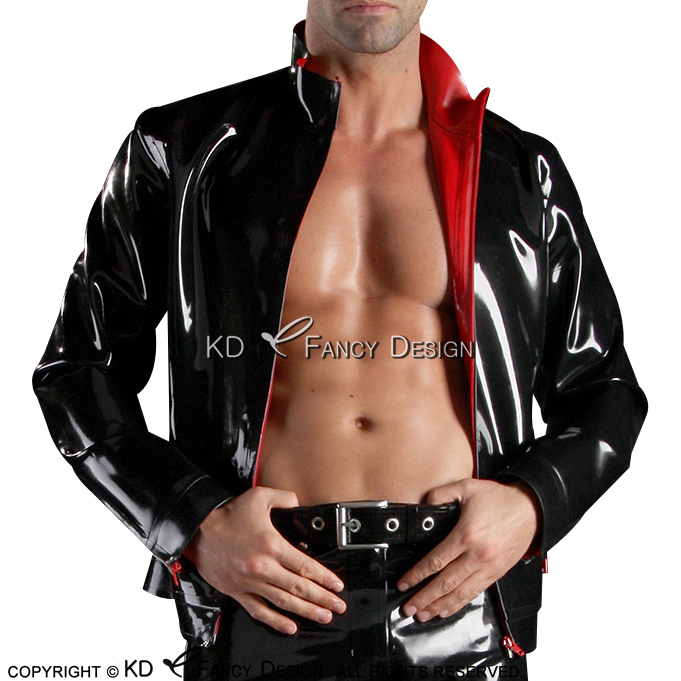 Black With Red Sexy Latex Jacket With Zippers At Front And Pocket Zippers Rubber Coat YF