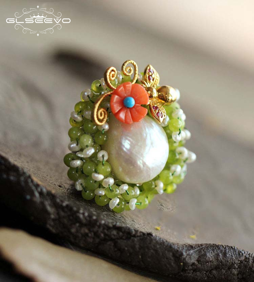 GLSEEVO Natural Fresh Water Baroque Pearl Flower Brooches For Women Pendant Dual Use Peridot Brooch Pins Luxury Jewelry GO0059