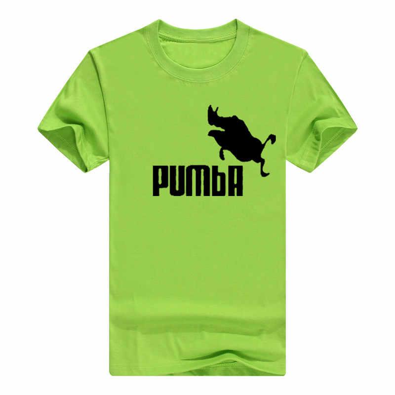 Ygyke 2017新しいブランドpumbaライオンキングtシャツコットントップスtシャツ男性半袖男の子カジュアルオムtシャツオフ白黒トップスを·ティー