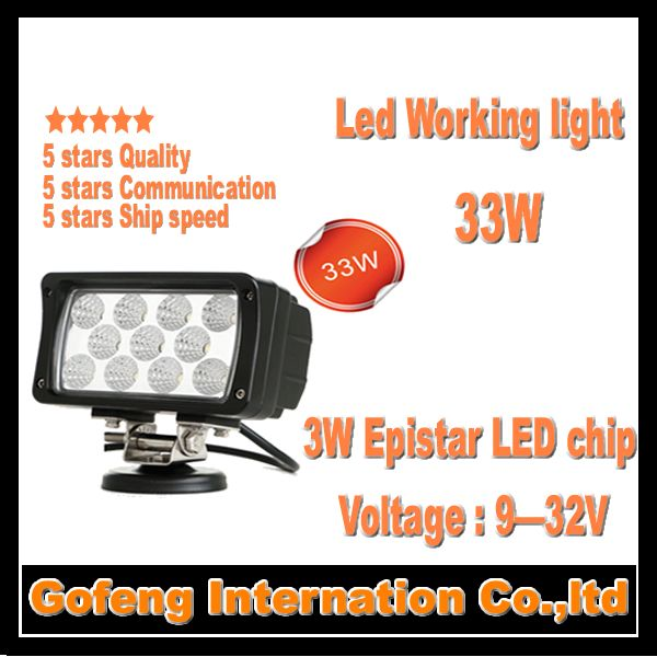 1PCS/LOT new products DC10-30V 33w waterproof led work lamp offroad flood car lights 11pcsx3W 12V epistar chip free shipping