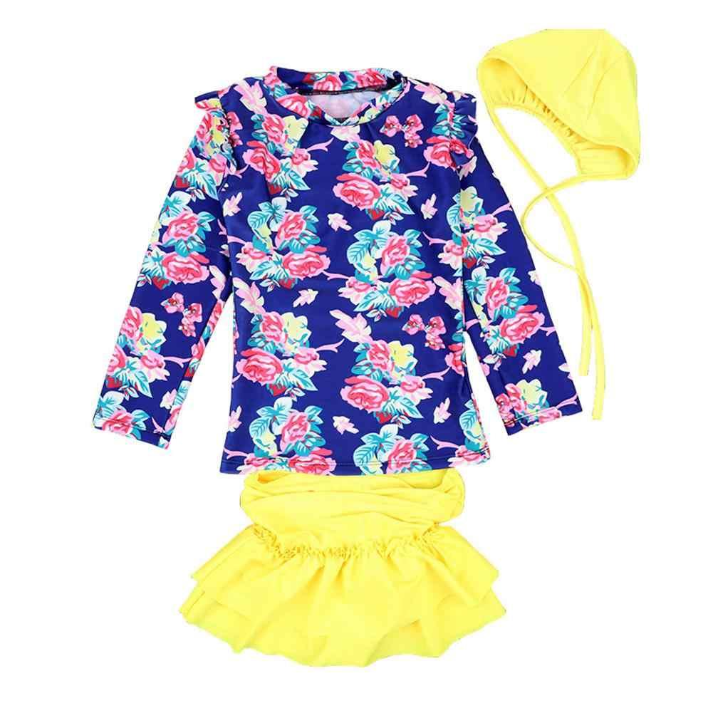 Dragonpad Girl verano Floral impermeable traje de baño dividido camisa de manga larga + falda + gorra de natación niños ropa de baño