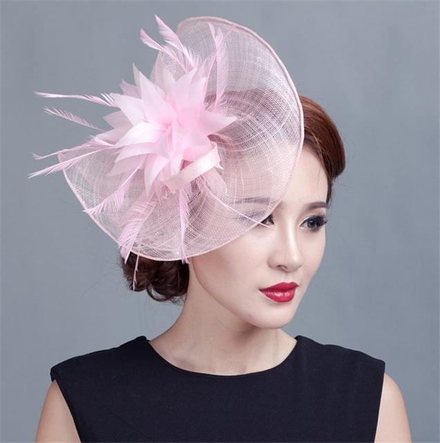 Sinamay Hat Fascinator Feather Flower Hair Clip Wedding Hats And Fascinators  Bridal Hair Acessories Chapeu Casamento WIGO0513 160eb5a656b