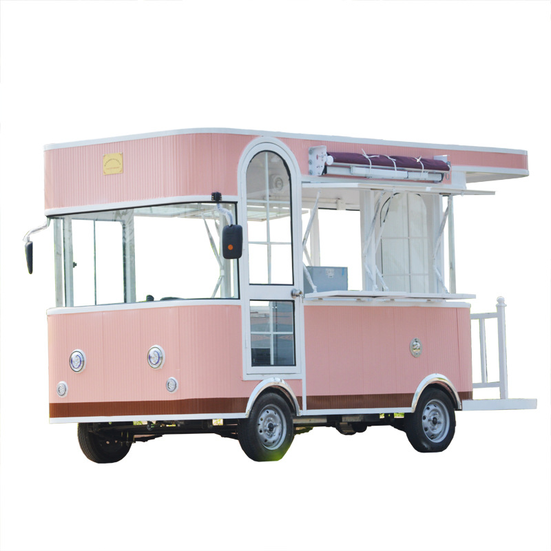 4 wheels food truck ice cream cart electric bike food cart trailer with free shipping