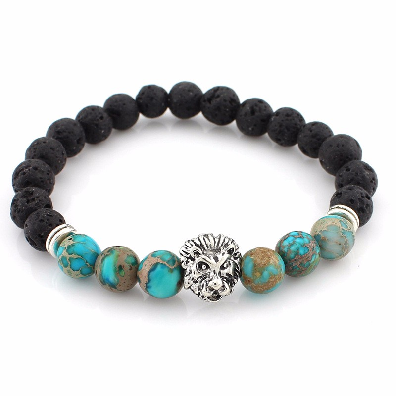 black-lava-stone-bracelets-with-silver-lion-with-sky-blue-colored-natural-stones