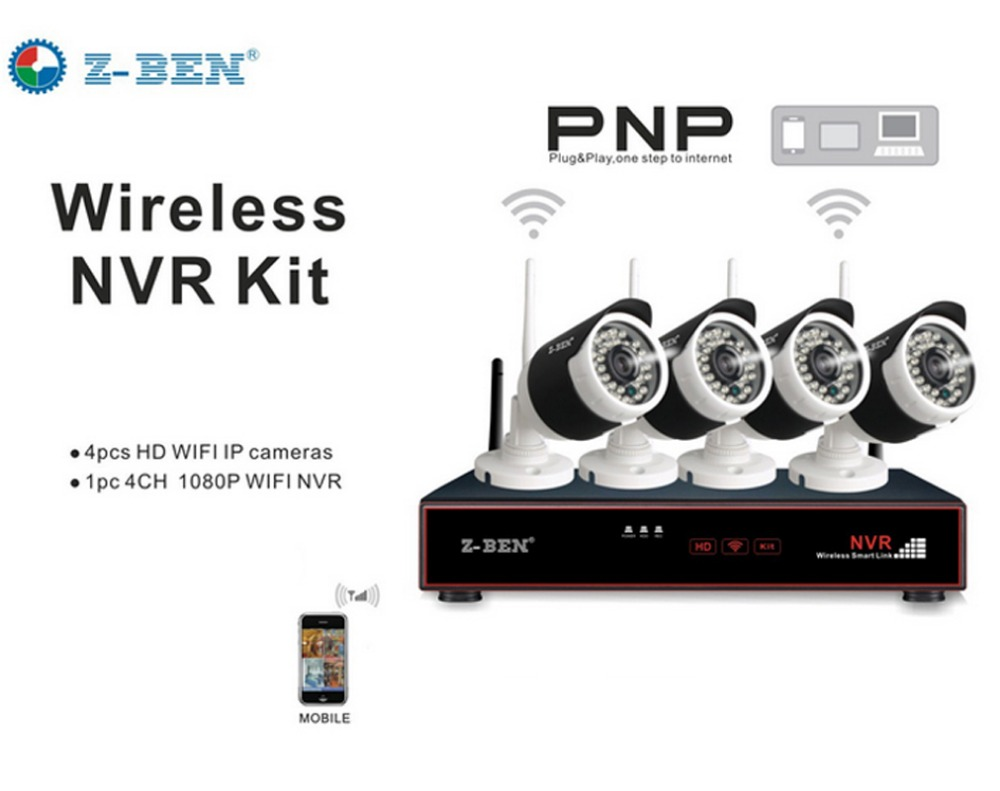 Z-BEN ZB-WK204-1.0MP 2.4G 4CH Kits Security Camera System Set Wireless Surveillance IP C ...