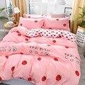 4 pçs rosa morango kawaii conjunto de cama luxo rainha tamanho lençóis crianças colcha macio consolador algodão conjuntos cama para a menina