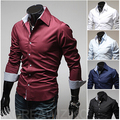Free shipping 2016 New Arrival spring and autumn casual men's long-sleeved shirts turn down collar slim fit fashion shirt men