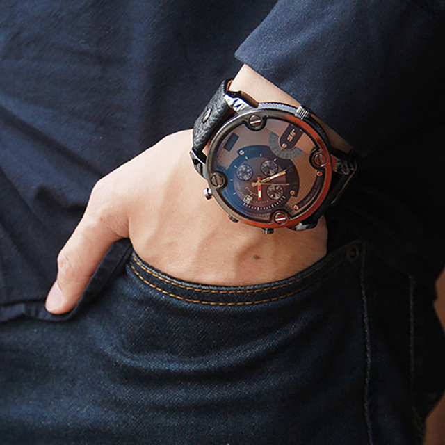 2017 Fashion Watches Men Big Dial Luxury Special Design Cool Leather Band Male Wristwatch Casual Sport Clock For Man