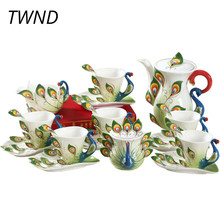 Bone china 3D peacock coffee pot mugs sugar can milk jug sets Europe style kettle cups with saucer spoons drinkware lovers gifts