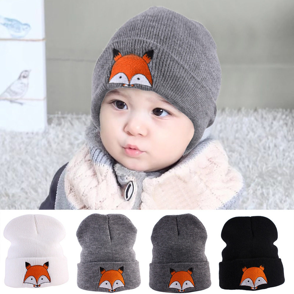 New Autumn and Winter Children Kids Knitted Hat Animal Cartoon Fox Baby Beanies Warm Knitting Yarn Hat Headwear Toddler Caps