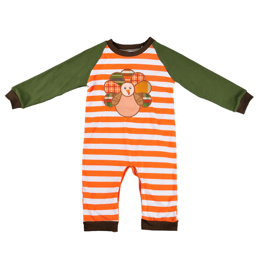 Thanksgiving Day Baby Boy Boutique Turkey Romper Striped Popular Infant Clothing With Girl Newborn Romper BPF807-043 o ring belted striped shirt romper
