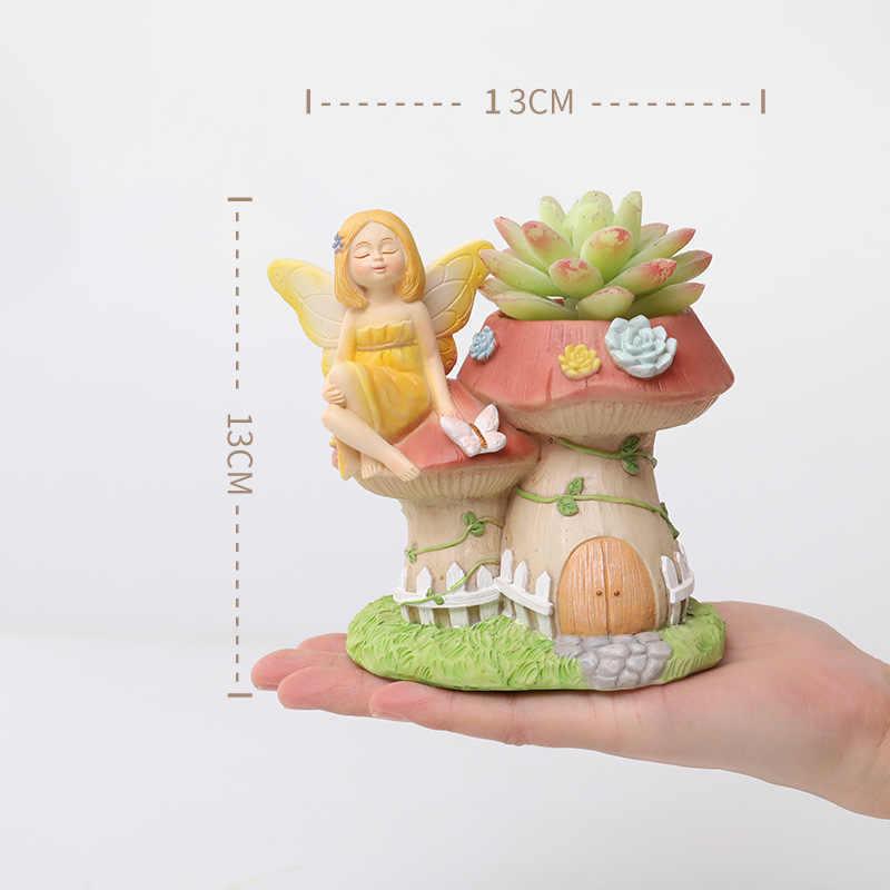 1pc 魔法の妖精植木鉢樹脂フラワーガール多肉植物サボテン素敵な置物ためプランター植木鉢家の庭の装飾