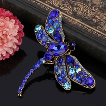 JAVRICK Unique Rhinestone Dragonfly Shaped Brooches Scarf Pin Jewelry Girlfriend Gift NEW