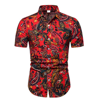 2019 New Summer Mens Short Sleeve Beach Hawaiian Shirts Cotton Casual Floral Shirts Camisa Masculina Regular Plus Size 5XL  TC 1