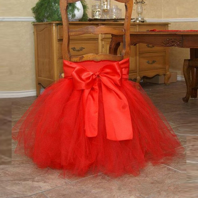 10 Pieces Tutu Chair Skirts In Stock Red Tulle Chair Sashes for Wedding Party Banquet and Birthday Wedding Decoration Cutie