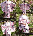 Moda Vintage Yukata japonês Haori Kimono Obi vestido tamanho rosa pavão japonês tradicional quimono frete grátis