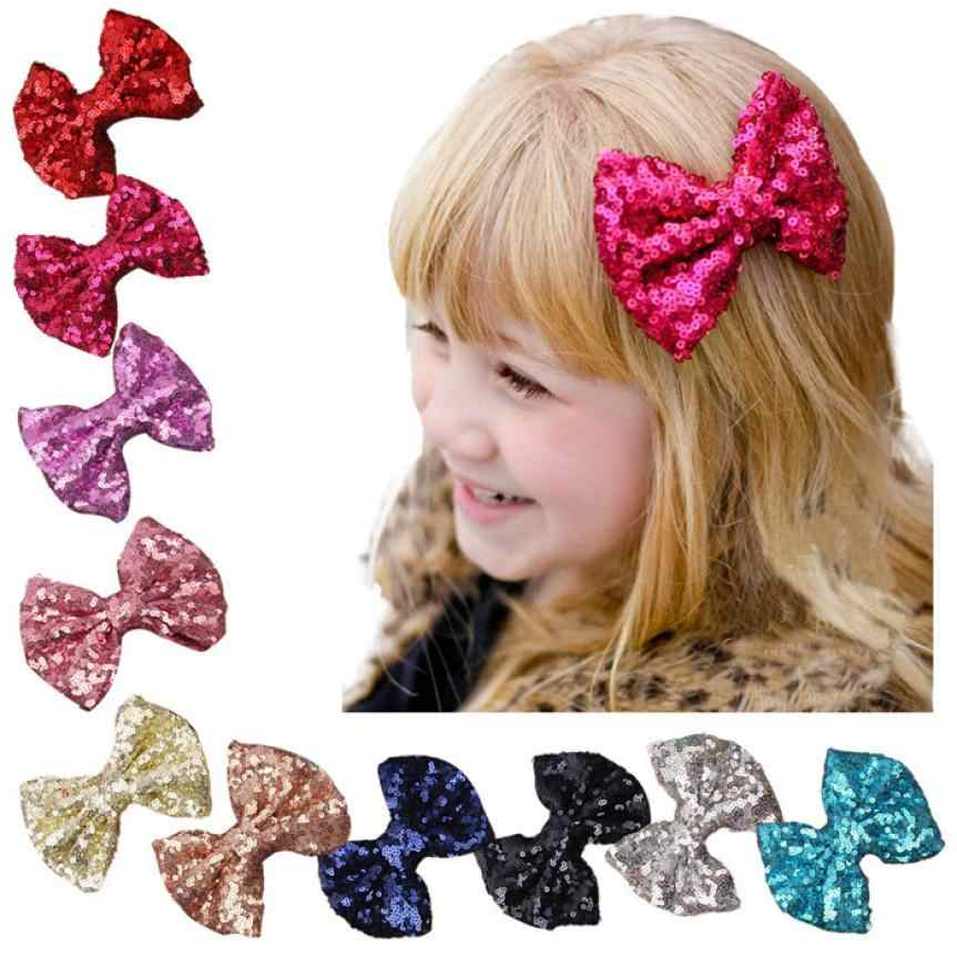 Hot Selling Baby Girls Summer Hair Bands Headband 2017 New Children Sequin Barrettes Cute Baby Girl Big Bow Hair Accessories