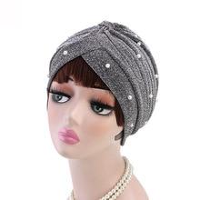 Turbante fruncido de malla con cuentas doradas brillantes para mujer, tocado musulmán, accesorios para el cabello, Turbante