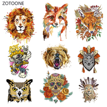 ZOTOONE Ink Animal Stripe Iron on Transfer Patches Clothing Diy Patch Heat for Clothes Decoration Sticker Applique G